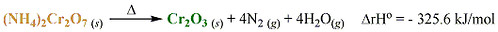 ammonium dichromate enthalpy equation