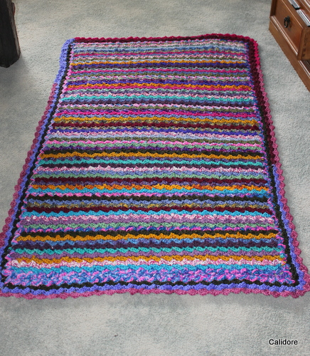 Finished - handspun, hand dyed, crocheted rug