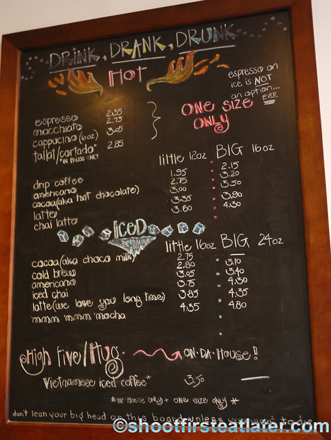 Baked and Wired coffee menu