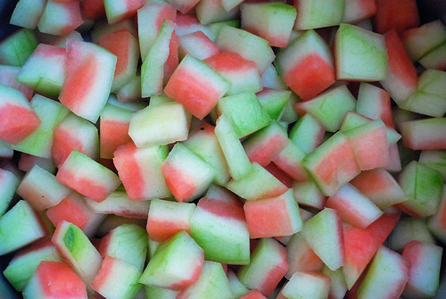 Cubed watermelon rind