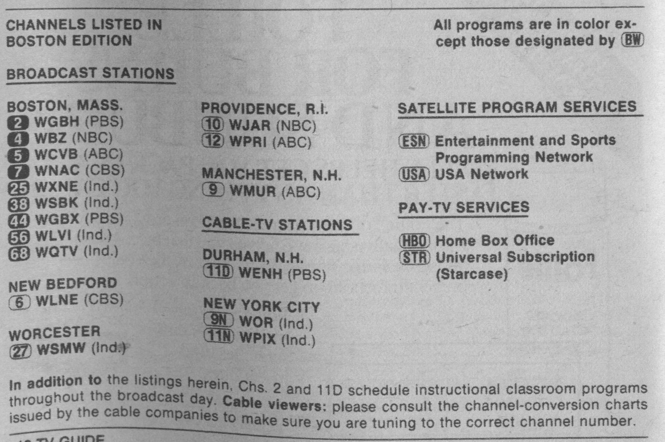 Image result for 1980s Boston TV Guide