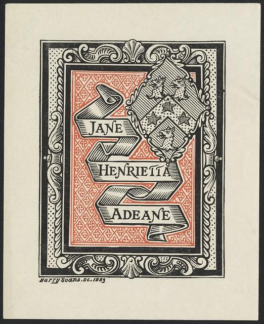 C 19.  bookplate gravação: fita dobrada na fronteira shell ornamentado