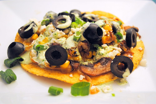 Caramelized Onion and Mushroom Tostadas