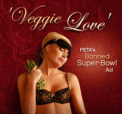 veggie love ad shows a blond woman in lingerie thinking sexy thoughts about asparagus