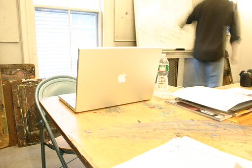 Over exposed photo of instructor's computer