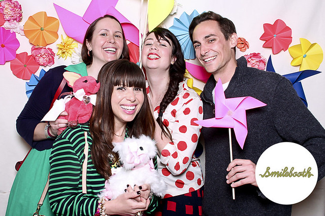 With Jackie of The Hourglass, Eli of Thrifteye, and Jess of StyleSays. Photo via Smilebooth.