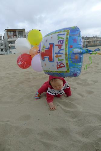 wind blown balloons