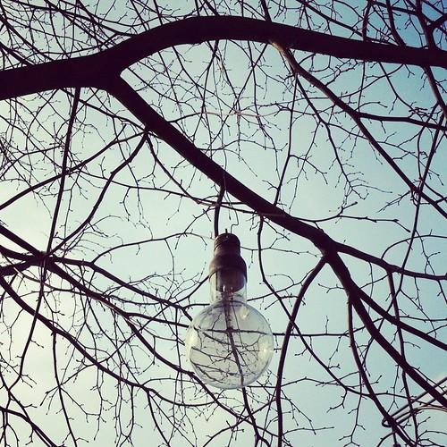 Oversize lighbulb in bare tree