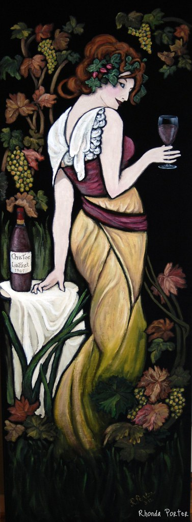 Wine Woman on Black Velvet