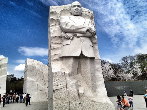 Amidst the cherry blossoms, MLK stands tall