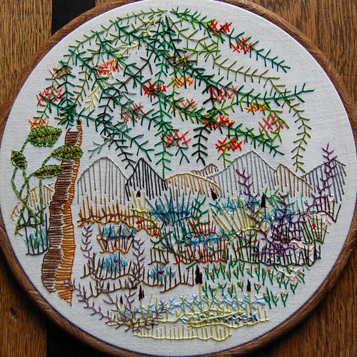 free embroidery: landscape with tree