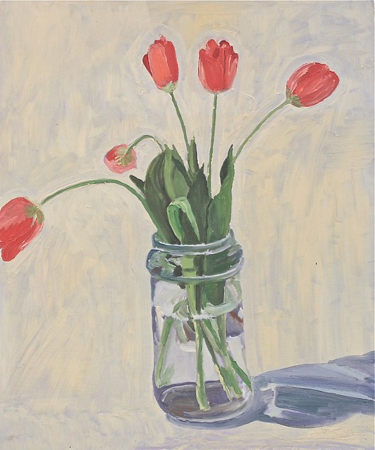 Janet E Davis, Sketch of light red tulips in clear jar, 1993. JED2_H300_021141
