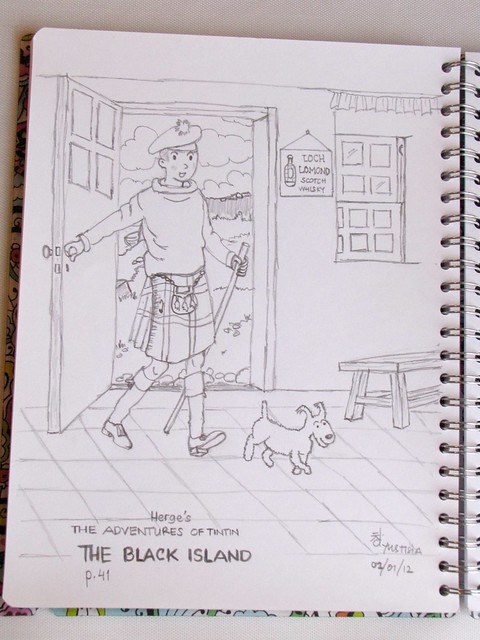 Drawing: The Adventures of Tintin - The Black Island