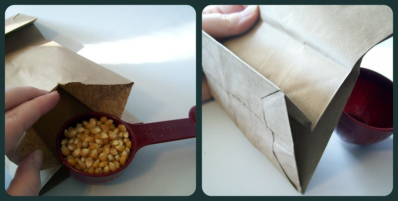 popcorn into bag