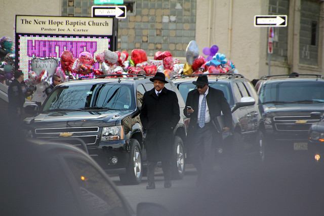Rev. Jesse Jackson leaving Whitney Houston funeral
