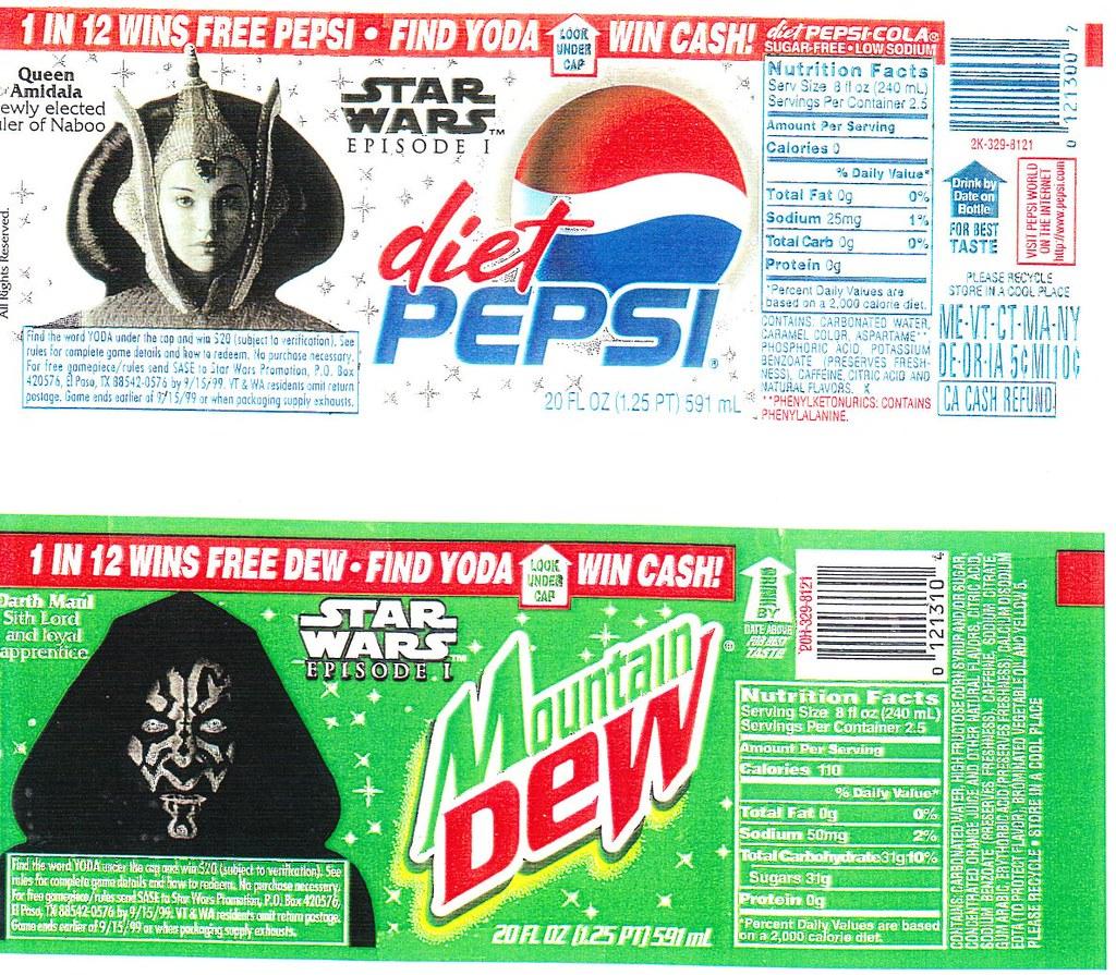 Diet Pepsi and Mtn Dew