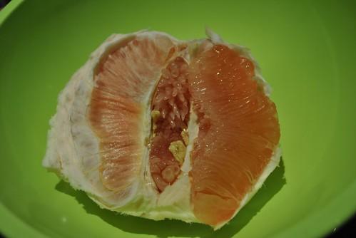 Inside a pomelo