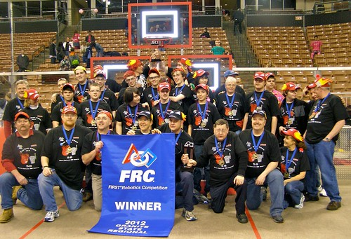 The South Portland High School robotics team poses for a picture.