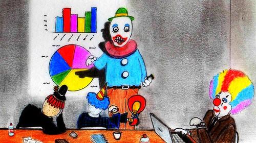 clown meeting by Giant Hamburger