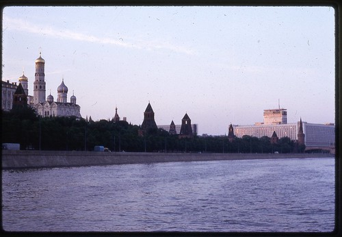 Kremlin and Rossija Hotel at Sunset, Moscow, 1969