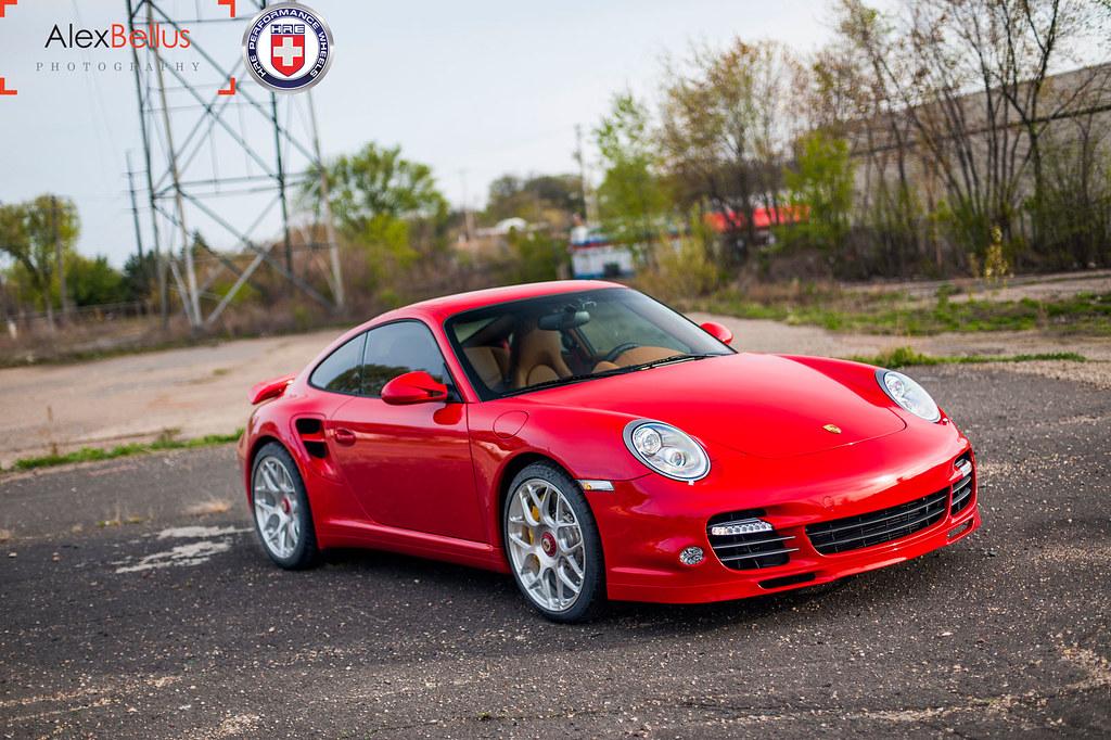 Red Porsche 997 Turbo On HRE P40SC Centerlock Brushed