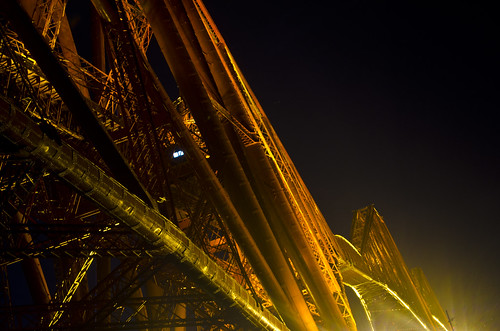 Forth Bridge at night with lights