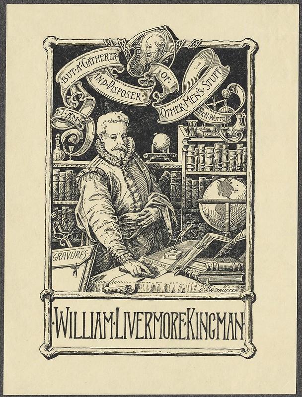 bookplate gravura: renascimento companheiro (John Overholt) em cena da biblioteca; título em fitas