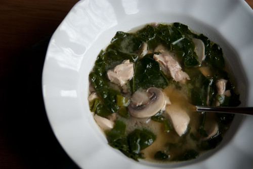 Roasted Garlic, Kale, and Chicken soup