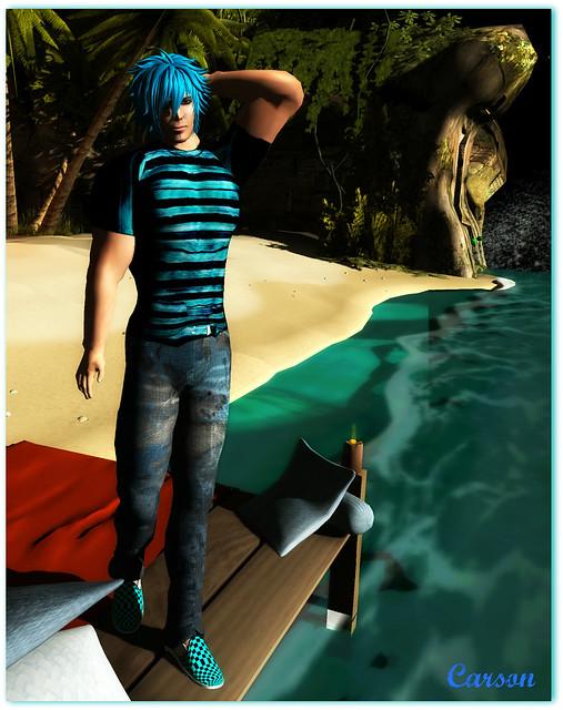 Karmas Kreations - Blue Striped Tee and Garage Jeans, Ayashi - Hideo Blue Hair, Kennedy's - Blue Plaid Slipon Sneakers