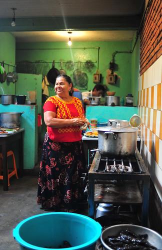 In her kitchen.
