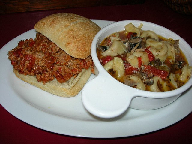 Turkey Joe Sandwich & Chicken Tortellini Soup