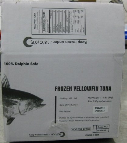 RECALLED – Yellowfin Tuna Strips  May 9, 2012 – Product Recall – Moon Fishery (India) Pvt. Ltd. Recalls Its