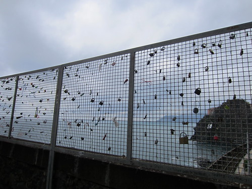 locks on the fence on the via dell'amore
