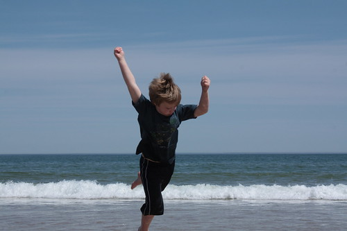 If there's a beach, Clark is leaping