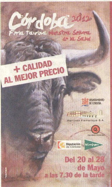 Cartel Temporada Taurina Cordoba 2012.