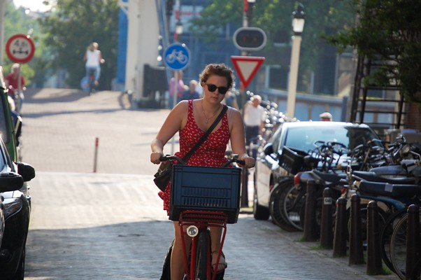 Red bike, red dress
