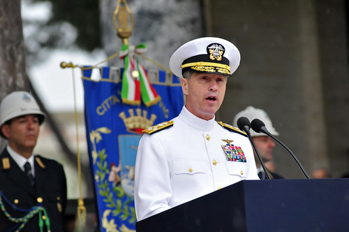 The commander of U.S. Naval Forces Europe-Africa, and Allied Joint Force Command Naples, delivers remarks during the Memorial Day ceremony at Sicily-Rome American Cemetery. by Official U.S. Navy Imagery