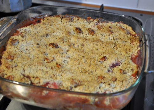 Rhubarb crumble out the oven