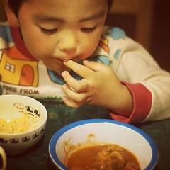 チキンのホールトマト煮込み。今回もウケは良くなかった。カミサマも「辛い」の一言 #azukikun