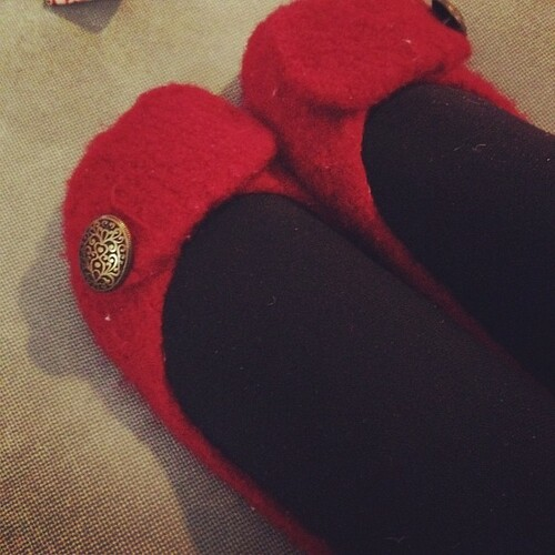 My ruby French Press Slippers. Delightful gift from a friend. So soft and pretty.