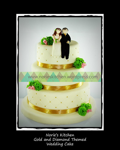 Norie's Kitchen - Gold and Diamond Wedding Cake by Norie's Kitchen