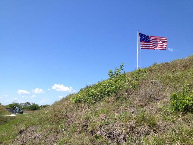 "15-star ""Star Spangled Banner"" American flag, Fort Moultrie"