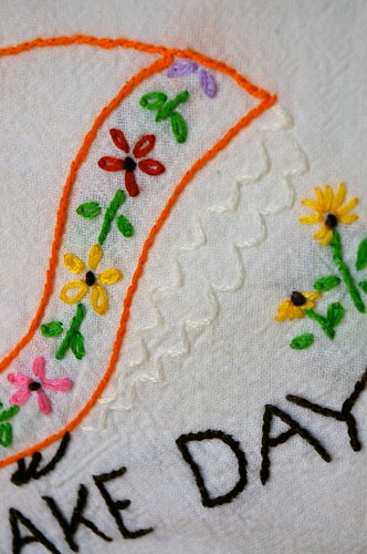 Bake Day Embroidered Towel