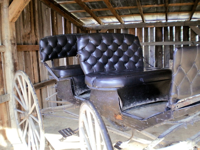uncovered carriage in barn with newly upholstered seats