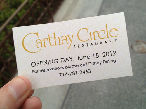 CMs are handing out these Carthay Circle Restaurant opening day reservation business cards. Cool collectible. #fb