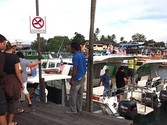 Boarding boat at Mersing Jetty