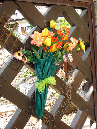 Spring Flowers in an Umbrella - Front gate decoration