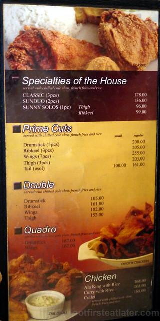 Sunburst Fried Chicken menu (Cebu)