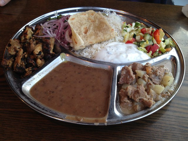 Chicken tikka & lamb curry thali plate - Kasa Indian Eatery