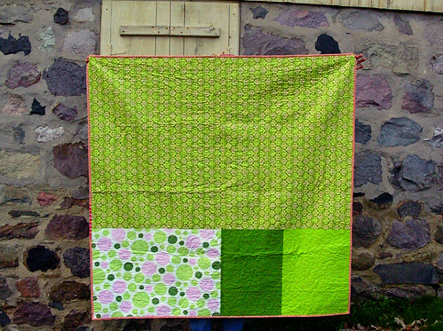 summer citrus framed patchwork quilt back